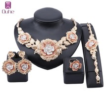 Luxury Dubai Gold Flower Crystal Jewelry Sets For Women Necklace Bangle ... - $33.69