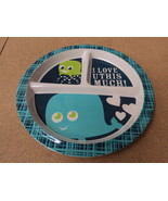 Standard Baby Toddler Plate 8 1/2in x 3/4in Blues Whale Pattern Plastic - $7.86