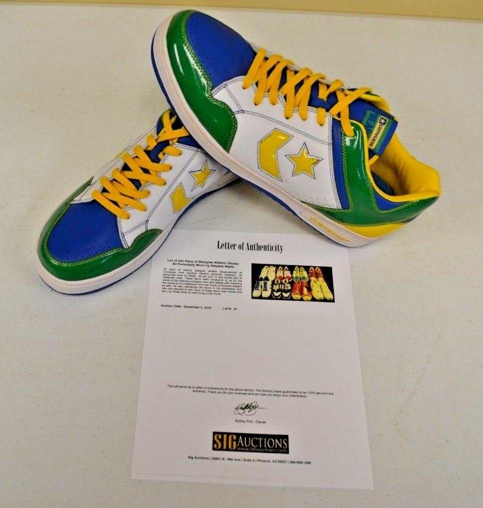 Converse Weapon Basketball Green Africa 14 DWAYNE WADE Personal Shoes w COA #2 - $346.49