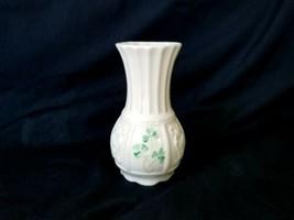 """1989 Belleek Nadine Spill Vase 4⅝"""" Sculpted Bottom with Long Stem Shamrocks - $22.75"""