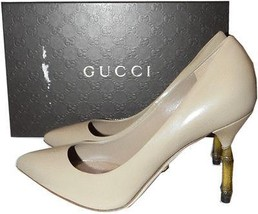 Gucci Bamboo Heel Kristen Beige Nude Leather Pointy Toe Pump 37-7 Shoes  - $349.99