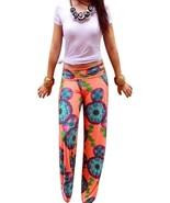 WOMENS ORANGE FLORAL BOHEMIAN PRINTED WIDE LEG PALAZZO PANTS - $17.99