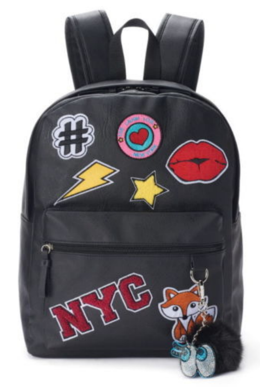 $60 BACKPACK Candies Black NYC Faux Leather/Fur Patches #Fox-Pom Keychain Travel
