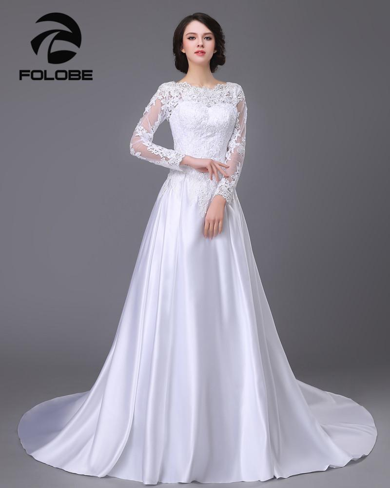 Satin and lace Long Sleeve A-Line Wedding Dress at Bling Brides Bouquet