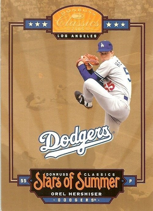 2005 donruss los angeles dodgers orel hershiser serial # 34/50