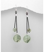 Faceted Prehnite Leather Sterling Silver Long Dangle Frenchwire Earrings - $24.65