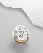 Sterling Silver & Pink Rose Gold Four Flower Ring Size 9 - $49.99