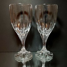"2 (Two) MIKASA BERKELEY Cut Lead Crystal Water Goblets Glasses 7.24"" Tall - $18.36"