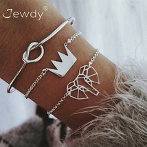 Jewdy® 3 Pcs/Lot Vintage Elephant Knot Crown Multilayer Bracelet Set Adj... - $4.71