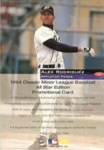1994 Classic Seattle Mariner Alex Rodriguez Promo Sample Card - $9.99