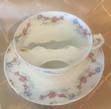 RARE CH Field Haviland Limoges GDA France Mustache Cup and Saucer Pink Blue Gold - $65.22