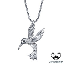 Pigeon Bird Wings Pendant W/ Chain White Gold Over 925 Silver Round Cut ... - £42.77 GBP
