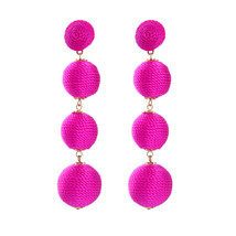 The Cats Pajama Hot Pink Ball Drop Statement Earrings - $48.00