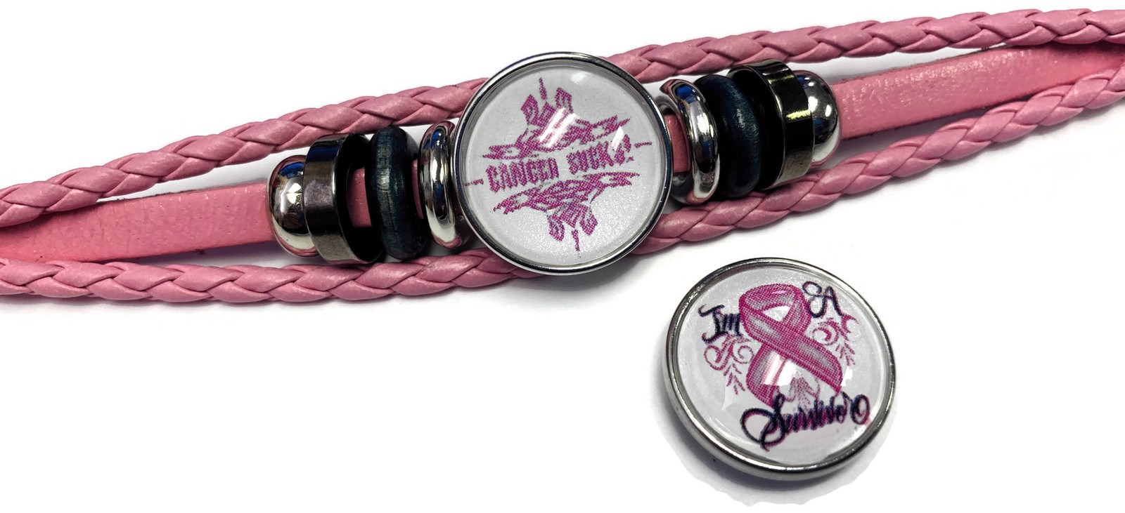 Breast Cancer Sucks Snaps On Pink Leather Bracelet W/2 Snap Jewelry Charms