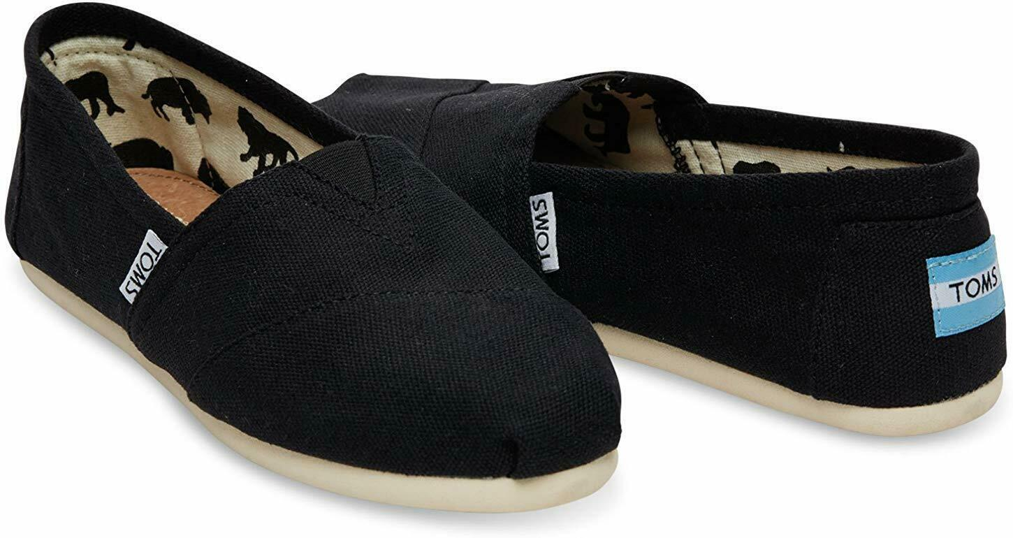 NEW Toms Women's The Venice Collection Classic Black Canvas Slip On Flats Shoes