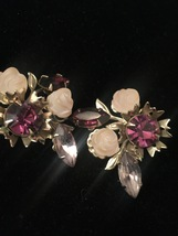 Vintage Hope Chest purple cluster gems brooch and clip on earrings set image 7