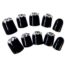 24pcs Rhinestone Decoration Nail Art False Nails(BLACK) image 4