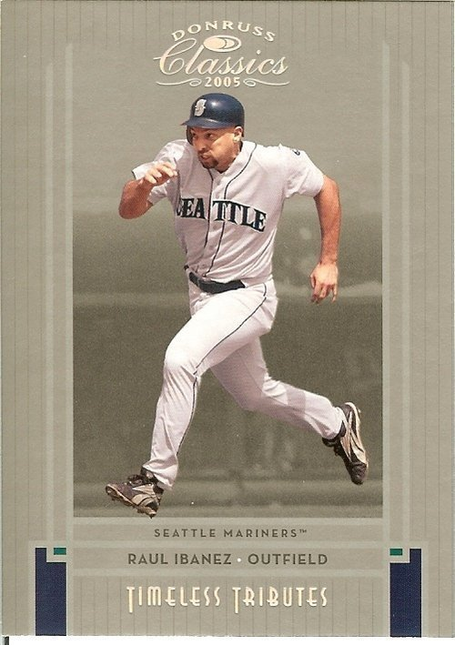 2005 donruss seattle mariners raul ibanez now with phillies serial # 45/100