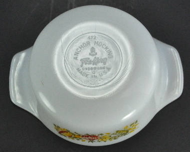 Vintage Fire King White 12 Oz Covered Casserole Vegetable Design