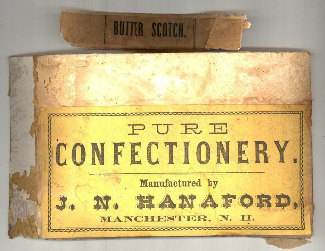 Hanaford antique candy box label Manchester NH advertising ephemera collectible