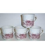 Set of 4 Maroon Transferware Coffee Cups - ENGLAND  - $15.00