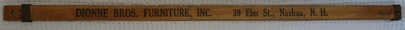 Primary image for Dionne furniture vintage ruler Nashua New Hampshire measuring tool