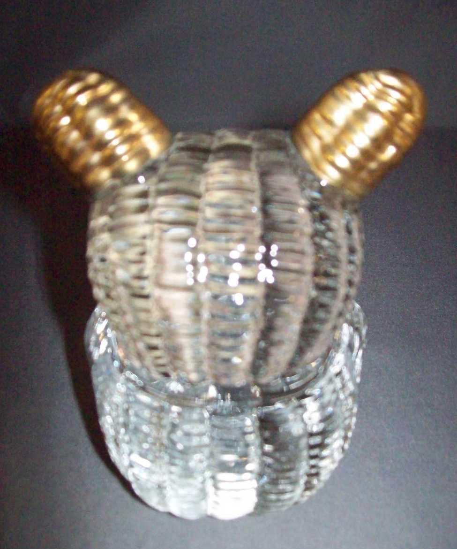 Glass Figurine Teddy Bear with Gold Trim Crystal Rib Design