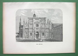 ITALY Certosa of Pavia - 1880s Wood Engraving - $13.05