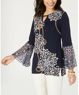 JM Collection Jewelry Mixed-Print Bell-Sleeve Knit Top, Navy NWOT SMALL - $8.06