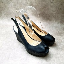 "Nine West Womens Ugotital  Sz 8 M Black Peep Toe Slingback 3.5"" Wedge Platform - $31.99"