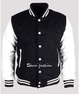 Black & White Men Varsity Wool Letterman Jacket Real Leather Sleeves XS~4XL - $68.05