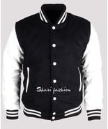 Black & White Men Varsity Wool Letterman Jacket Real Leather Sleeves XS~4XL - $68.05