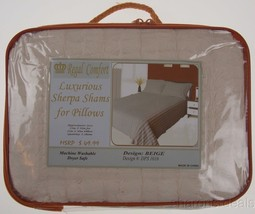 Regal Comfort Beige Pillow Shams Lot 2 Luxurious Sherpa DPS1016 Queen St... - $450,83 MXN