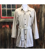 Chico's 2 Cargo Jacket Tan Button Front Cotton Canvas Belted Hip Length ... - $31.88