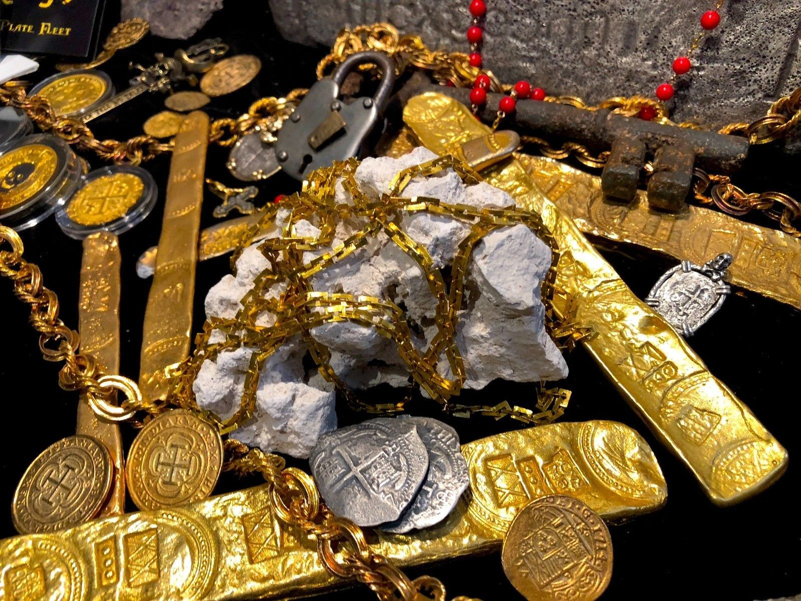 "GOLD CHAIN 66"" SHIPWRECK TREASURE 1656 ""MARAVILLAS"" MONEY CHAIN PIRATE GOLD COIN"