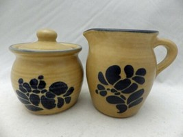Pfaltzgraff Folk Art pattern – Creamer pitcher and Sugar Bowl w/Lid set - EUC - $15.83