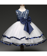 Classy Blue And White Color Frock With Satin Trim And Bow for Girls - $62.99+