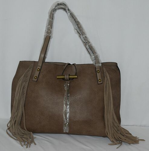 Simply Noelle Brand HB210 Taupe Color Womens Fringed Toggle Loop Closure Purse