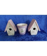 "Pair of Wooden Pink Bird Houses with 5"" Ceramic Planter - $19.99"