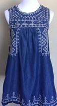 Romeo & Juliet Womens Sz S Embroidered Blue Jean Denim Dress Sleeveless  - $20.99
