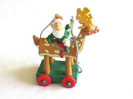 VTG National Rennoc Christmas Ornament Elf Riding Wood Pull Reindeer Toy... - $9.99