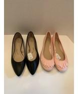 Lot of 2 Time and Tru women flats ruffle toe blush & black faux leather ... - $21.95