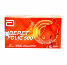 2 X 30's Abbott Iberet Folic 500 Iron Vitamin C, B Complex Including EXPEDITE  - $48.70