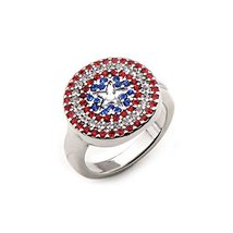 Marvel Captain America Shield Logo with Rhinestones Stainless Steel Ring | 6