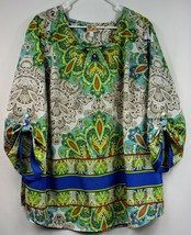 JM Collection Womens Size 22W Blouse Colorful Paisley Casual 3/4 Roll-up... - $12.88