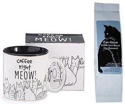 Cats Coffee Right Meow Coffee Mug Cup and Cat-feine Purr-fect Blend Coff... - $23.47