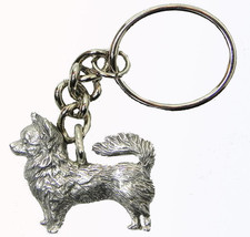 Chihuahua Dog Keychain Keyring Harris Pewter Made USA Key Chain Ring lon... - $9.48