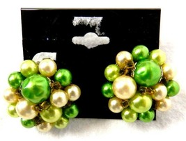 Japan Clip On Back Earrings Round Flower Cluster Gold Green Pearl Vintage - $24.22