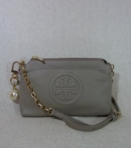 NWT Tory Burch French Gray Bombe Chain Cross Body Bag + Pearl Logo Keyfo... - $374.22