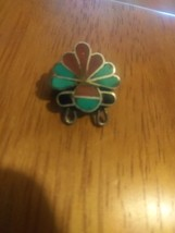 Zuni Native American Sterling Old Pawn Carlisle Pin Brooch Turquoise Cor... - $65.00